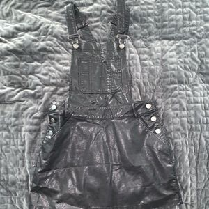 Faux Leather Overall Dress